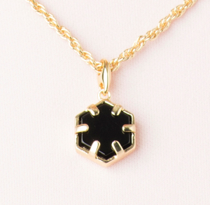 Mini Filigree Hexagon Pendant - Onyx
