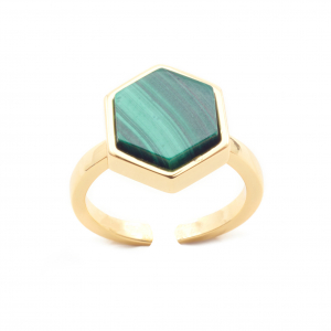 Mini Filigree Hexagon Open Ring - Malachite