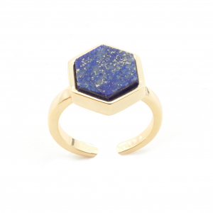Mini Filigree Hexagon Open Ring - Lapis