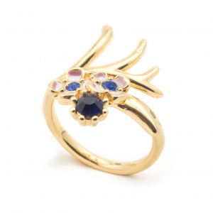 Blue Crystal Open Ring