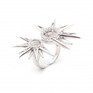 Starburst Statement Ring - Rhodium