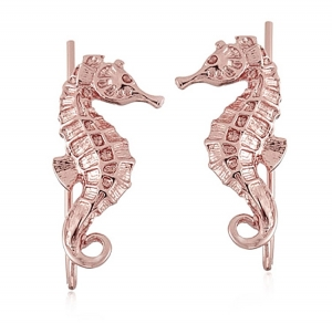 Seahorse Climber Earrings Rose Gold