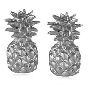 Pineapple Stud Earrings Rhodium