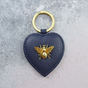Queen Bee Leather Keyring - Navy