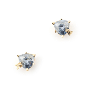 Disco Bee Gold Stud - Blue Crystal