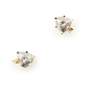 Disco Bee Gold Stud - Silver Crystal