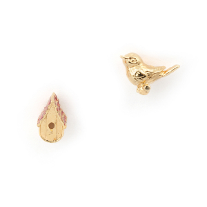 Bird House Studs - Gold