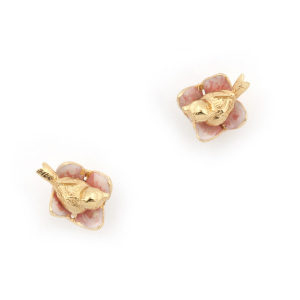 Bird House Nest Studs - Gold