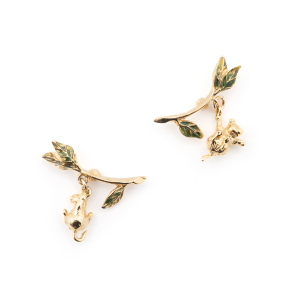 Potting Shed Playing Mice Earrings - Gold