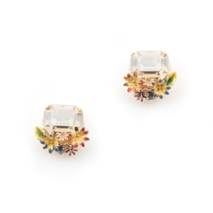 Potting Shed Floral Crystal Stud - Gold