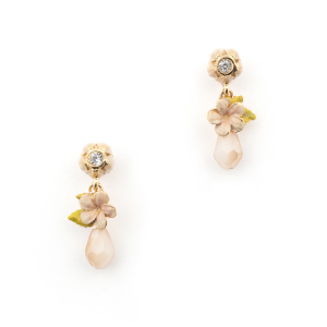 Cherry Blossom Stone Drop Earring - Gold