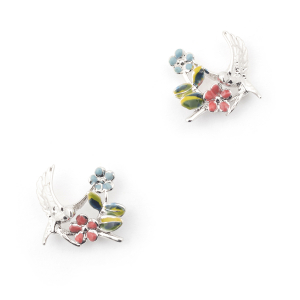 Swallow Floral Stud - Rhodium