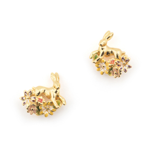 Hare Floral Stud - Gold