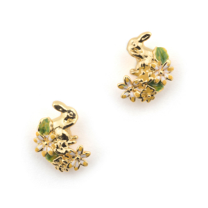 Rabbit Floral Stud - Gold