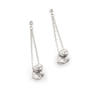 Puppy Spaniel Drop Earring - Rhodium