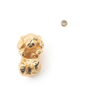 Puppy Spaniel Through Earring & Crystal Stud - Gold