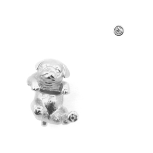 Puppy Pug Through Earring & Crystal Stud - Rhodium