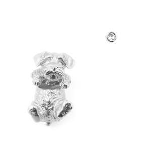 Puppy Wally Through Earring & Crystal Stud - Rhodium