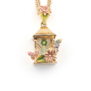 Bird House Lantern Pendant - Gold