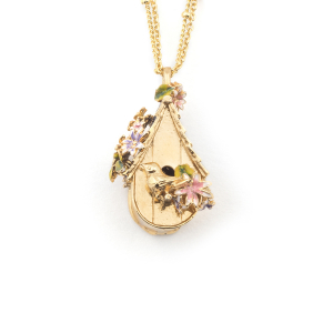 Bird House Pendant - Gold