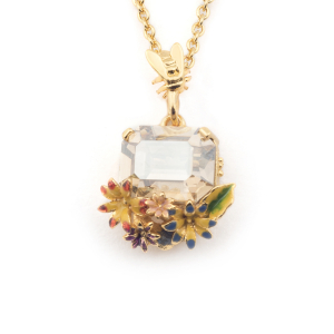 Potting Shed Floral Crystal Pendant - Gold