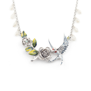 Swallow Rose Necklace - Rhodium