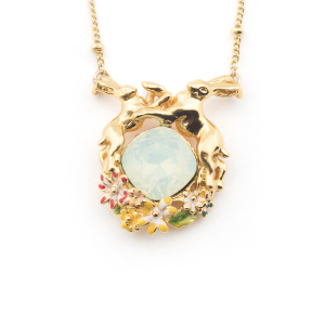 Hare Crystal Pendant - Gold