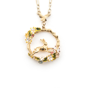 Hare Circle Pendant - Gold