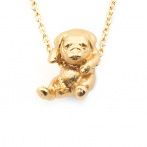 Puppy Pug Pendant - Gold