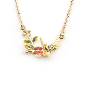 Swallow Floral Pendant - Gold