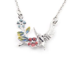 Swallow Floral Pendant - Rhodium