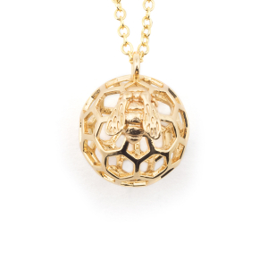 Mini Bee & Honeycomb Orb Necklace