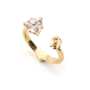 Disco Bee Gold Open Ring - Rose Crystal