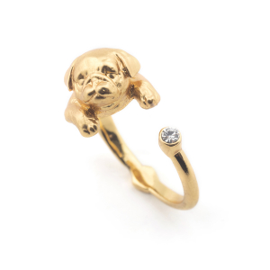 Puppy Pug Open Ring - Gold