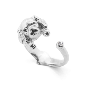 Puppy Spaniel Open Ring - Rhodium