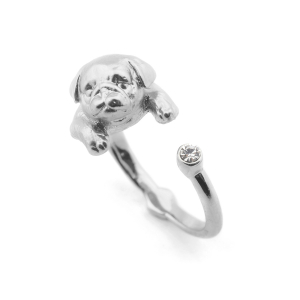 Puppy Pug Open Ring - Rhodium