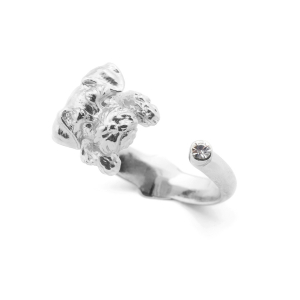 Puppy Wally Open Ring - Rhodium