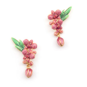 Orchid  Stud Drop Earring