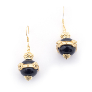 Lion Orb Onyx Earrings