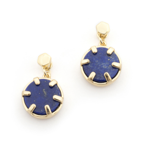 Mini Filigree Disc Earrings - Lapis