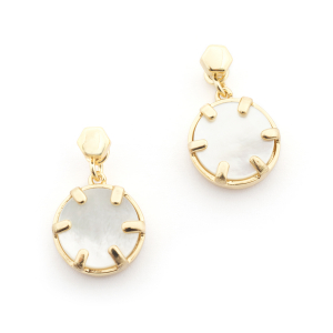 Mini Filigree Disc Earrings - Mother of Pearl