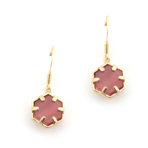 Mini Filigree Hexagon Earrings - Cats Eye