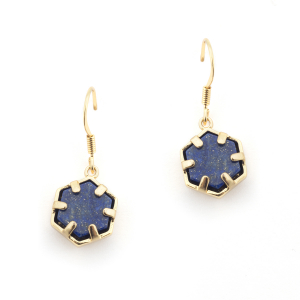 Mini Filigree Hexagon Earrings - Lapis