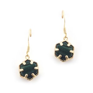 Mini Filigree Hexagon Earrings - Malachite