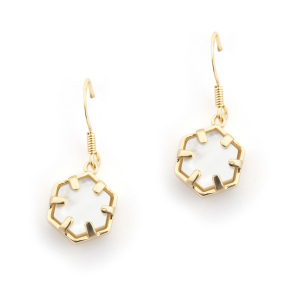 Mini Filigree Hexagon Earrings - Mother of Pearl