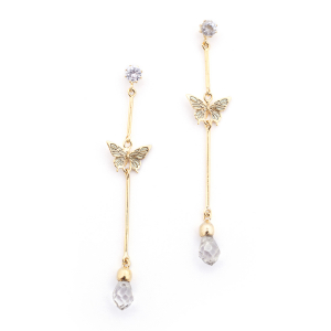 Butterfly & Crystal Drop Earring