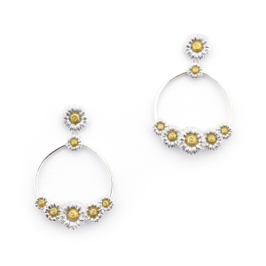 Daisy Circle Earrings - Rhodium