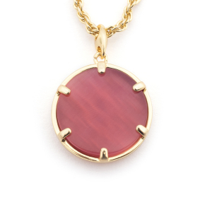 Filigree Disc Pendant - Pink Cats Eye