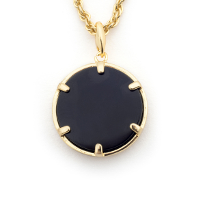 Filigree Disc Pendant - Onyx