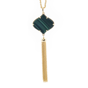 Filigree Tassel Pendant - Malachite